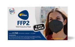 MASCHERINE FFP2 PROTECTIVE MASK BLACK NERA 5 PEZZI